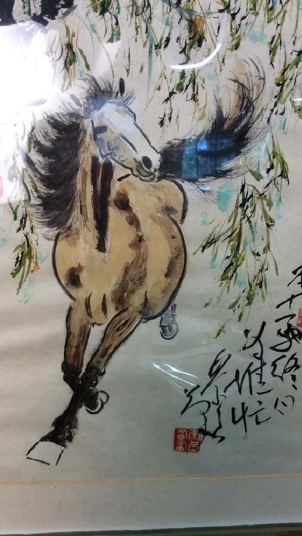 Asian signed Watercolor & Ink  Horse Illustration - 2