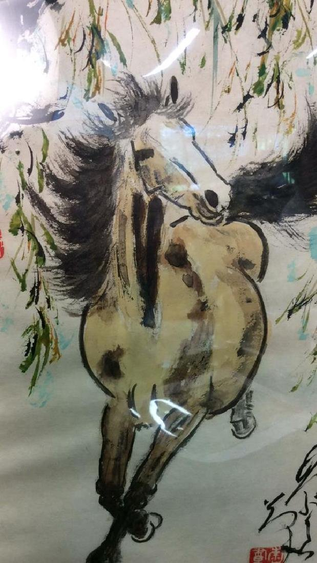 Asian signed Watercolor & Ink  Horse Illustration - 3