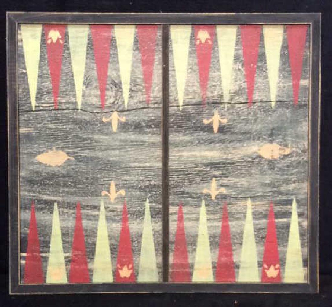 Folk Art Backgammon Painting on Wood