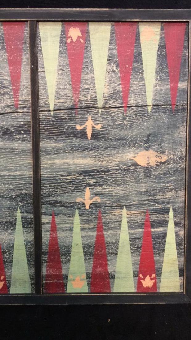 Folk Art Backgammon Painting on Wood - 4