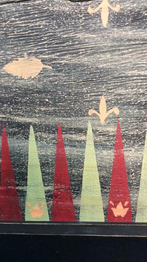 Folk Art Backgammon Painting on Wood - 6
