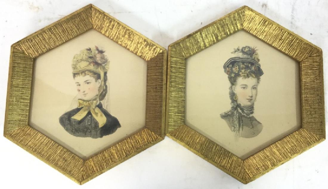 Pair of Hand Colored Art Gravure