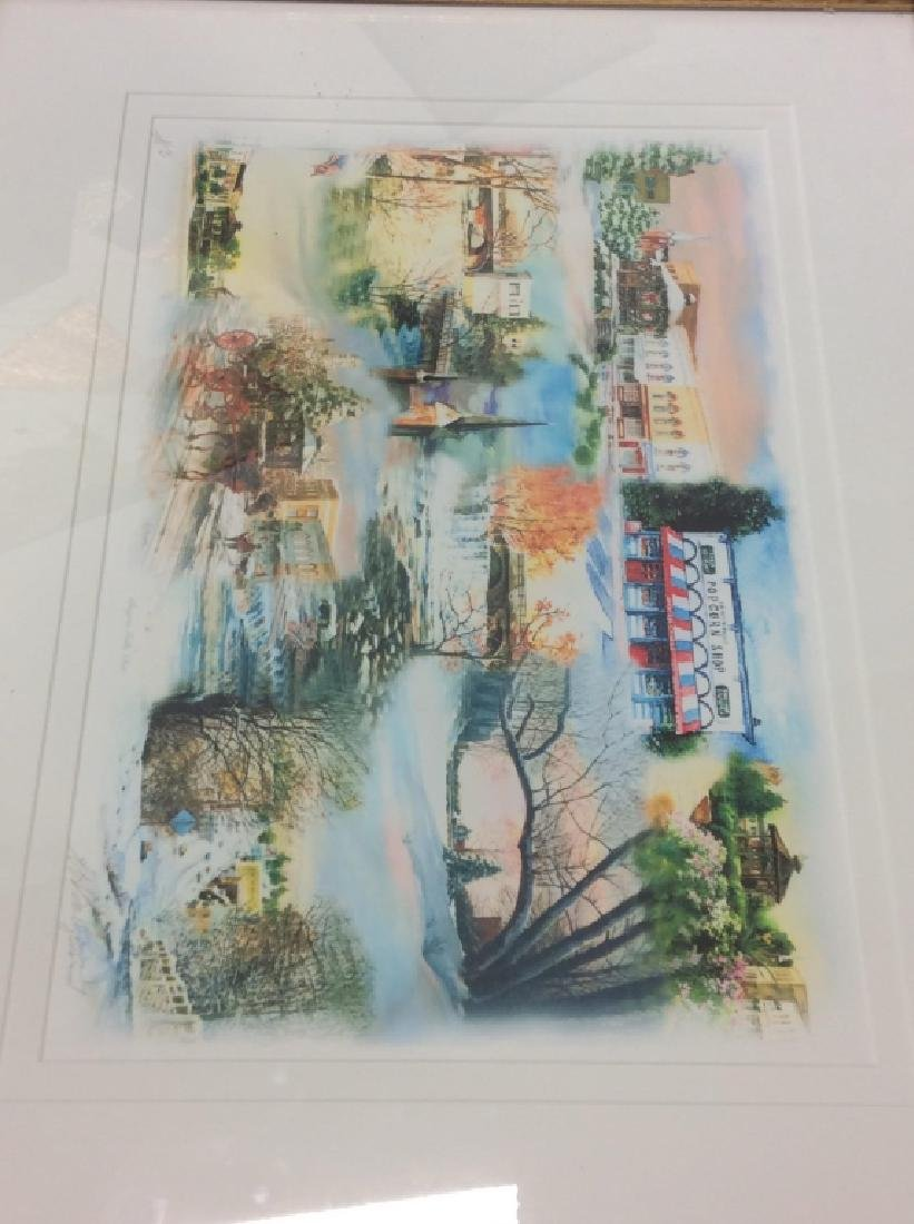 Signed Mary Ann, Ohio Scenery  Lithograph Framed