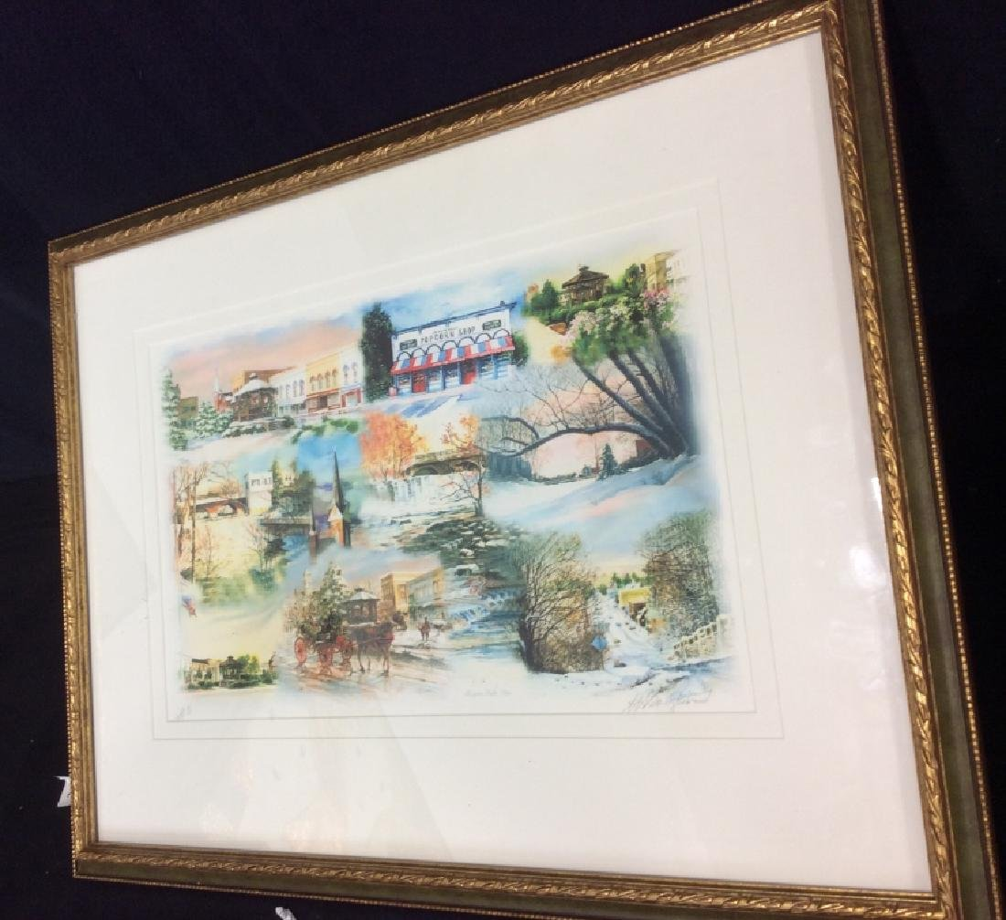 Signed Mary Ann, Ohio Scenery  Lithograph Framed - 3