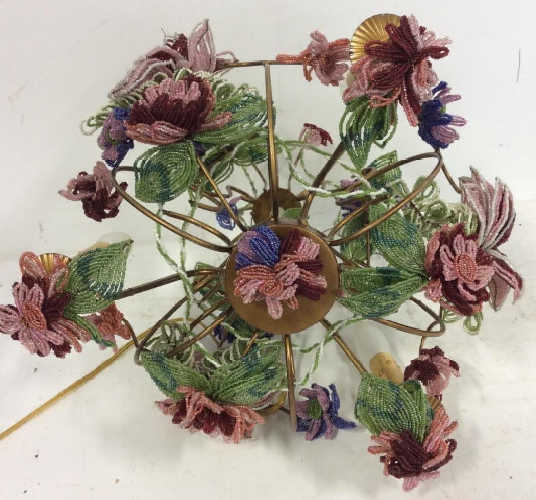 Vintage Hand Beaded Floral Chandelier - 10