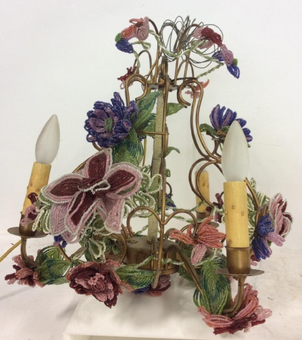Vintage Hand Beaded Floral Chandelier - 2