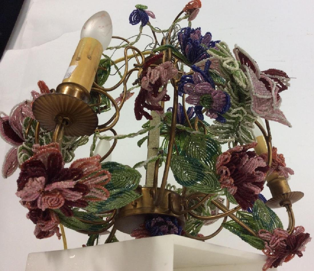 Vintage Hand Beaded Floral Chandelier - 6