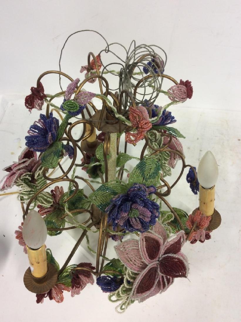 Vintage Hand Beaded Floral Chandelier - 7