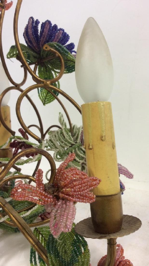 Vintage Hand Beaded Floral Chandelier - 8