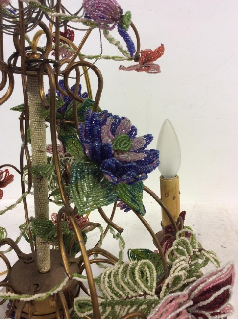 Vintage Hand Beaded Floral Chandelier - 9