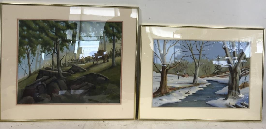 Lot 2 E. POTYRALA Signed Watercolor Paintings - 2