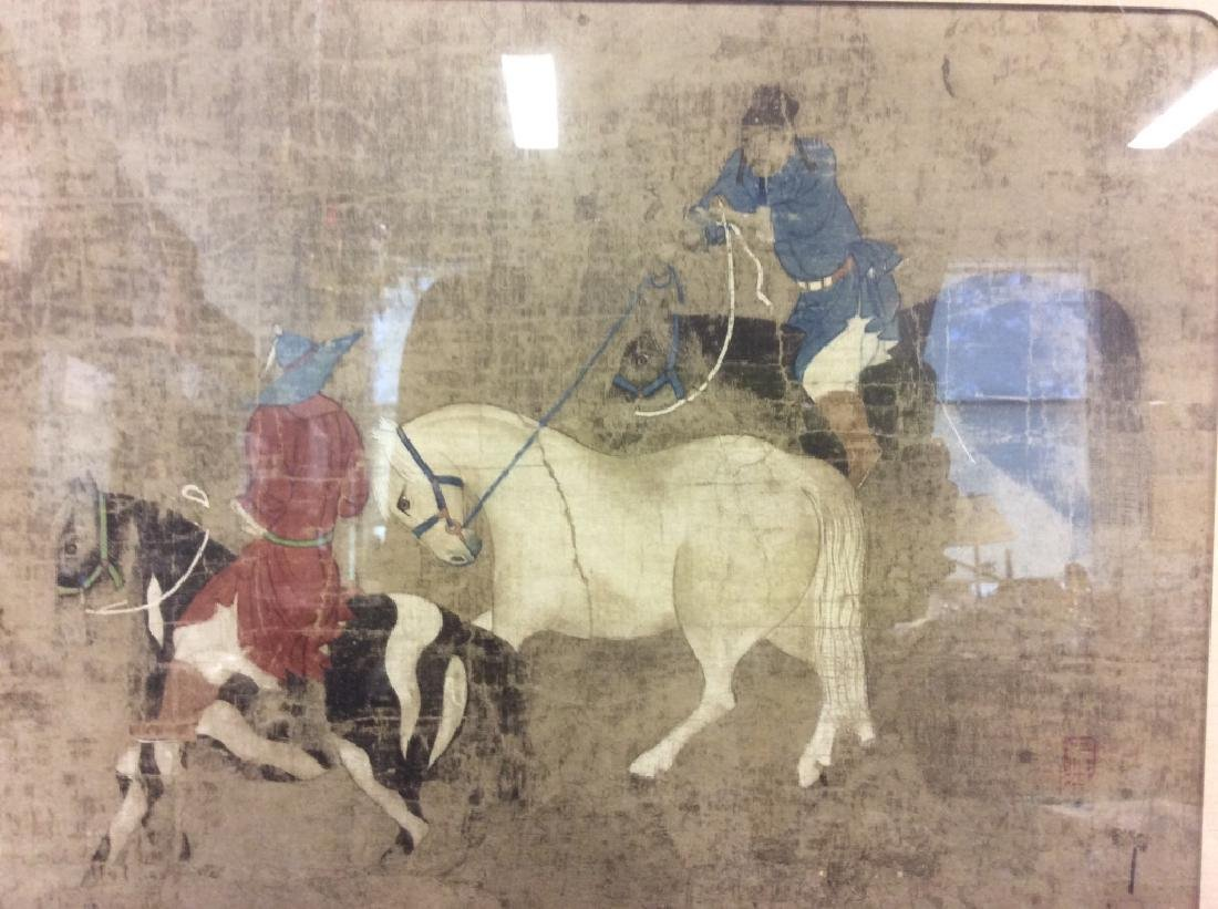 Asian Horse and Rider Art Print on Paper