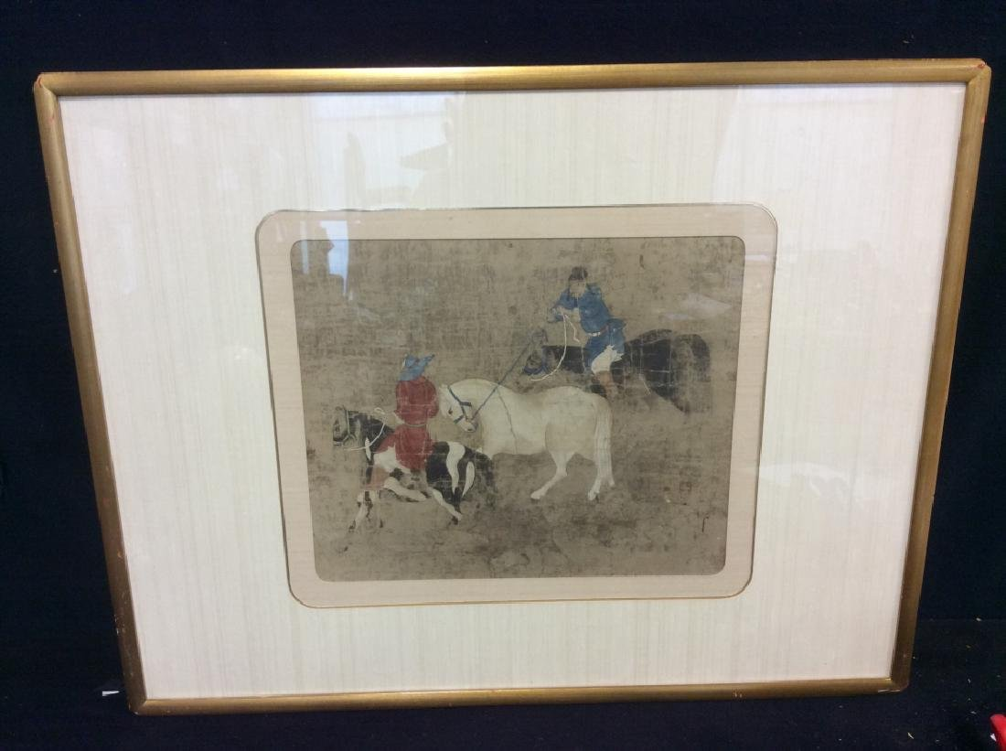Asian Horse and Rider Art Print on Paper - 2