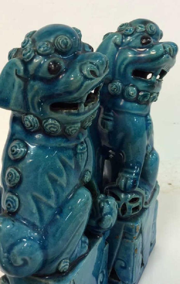 Vintage/Antique Pair Ceramic Foo Dogs - 6