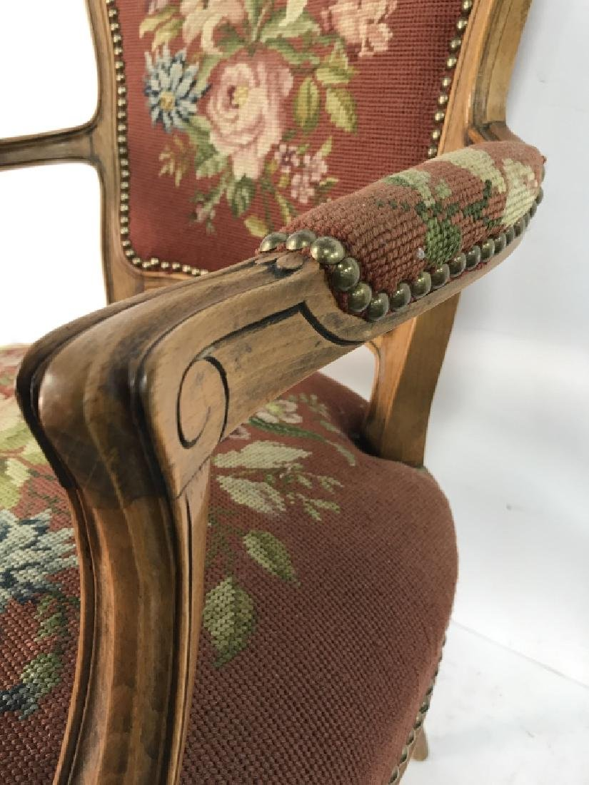 French Needlepoint Tapestry Fauteuil Armchair - 10