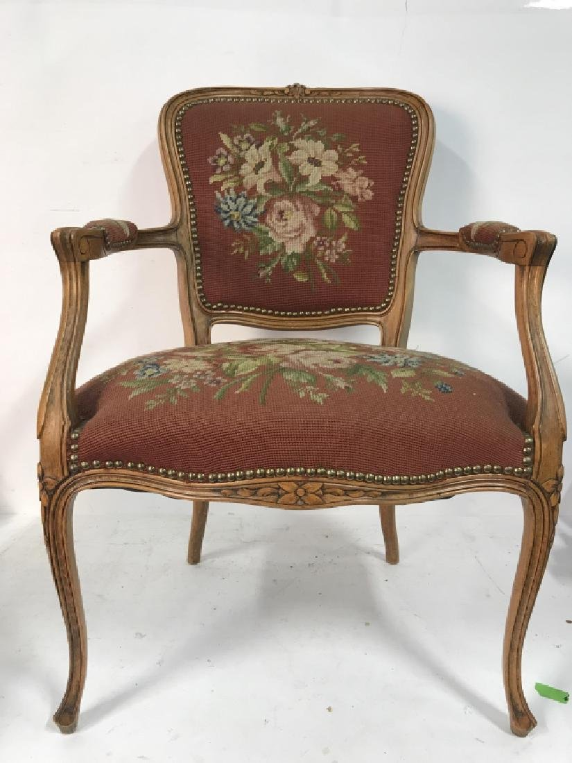 French Needlepoint Tapestry Fauteuil Armchair