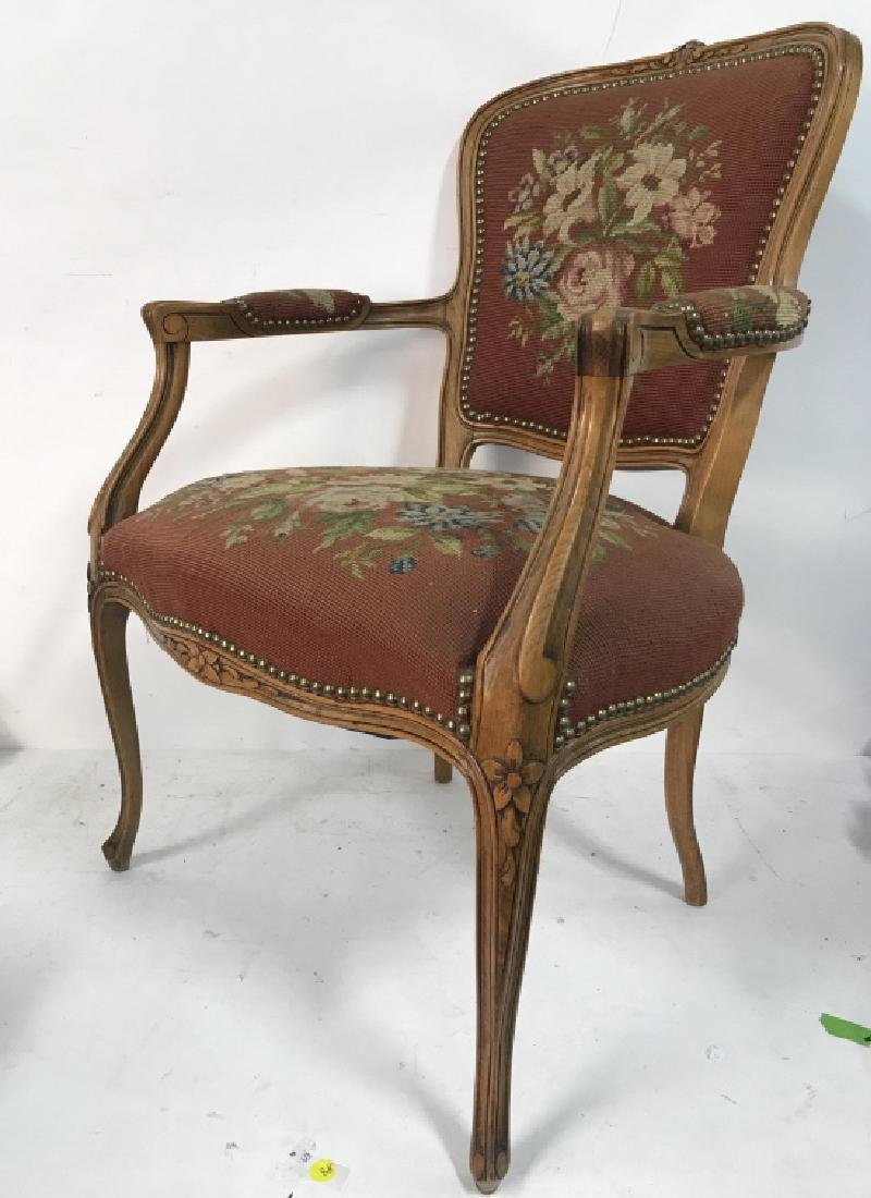 French Needlepoint Tapestry Fauteuil Armchair - 2