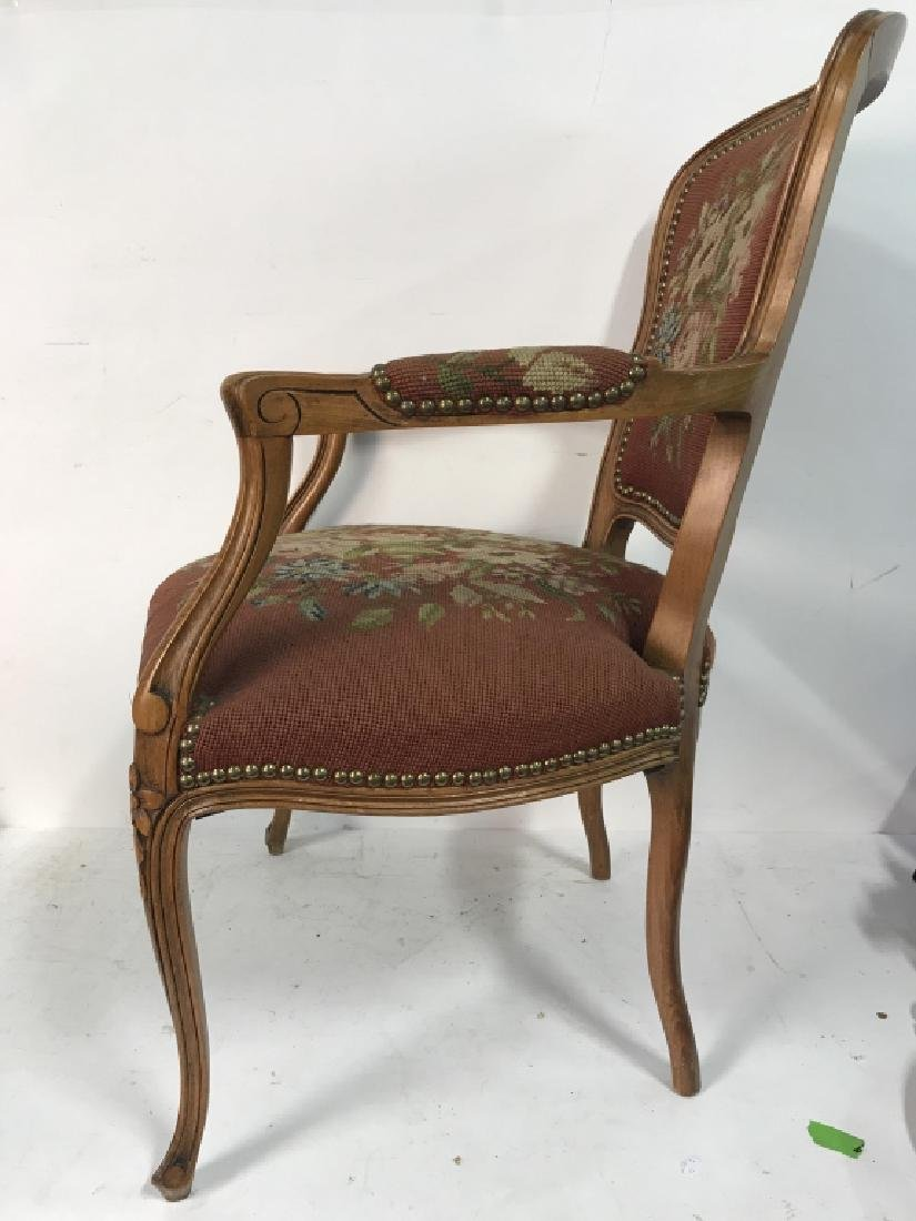 French Needlepoint Tapestry Fauteuil Armchair - 3