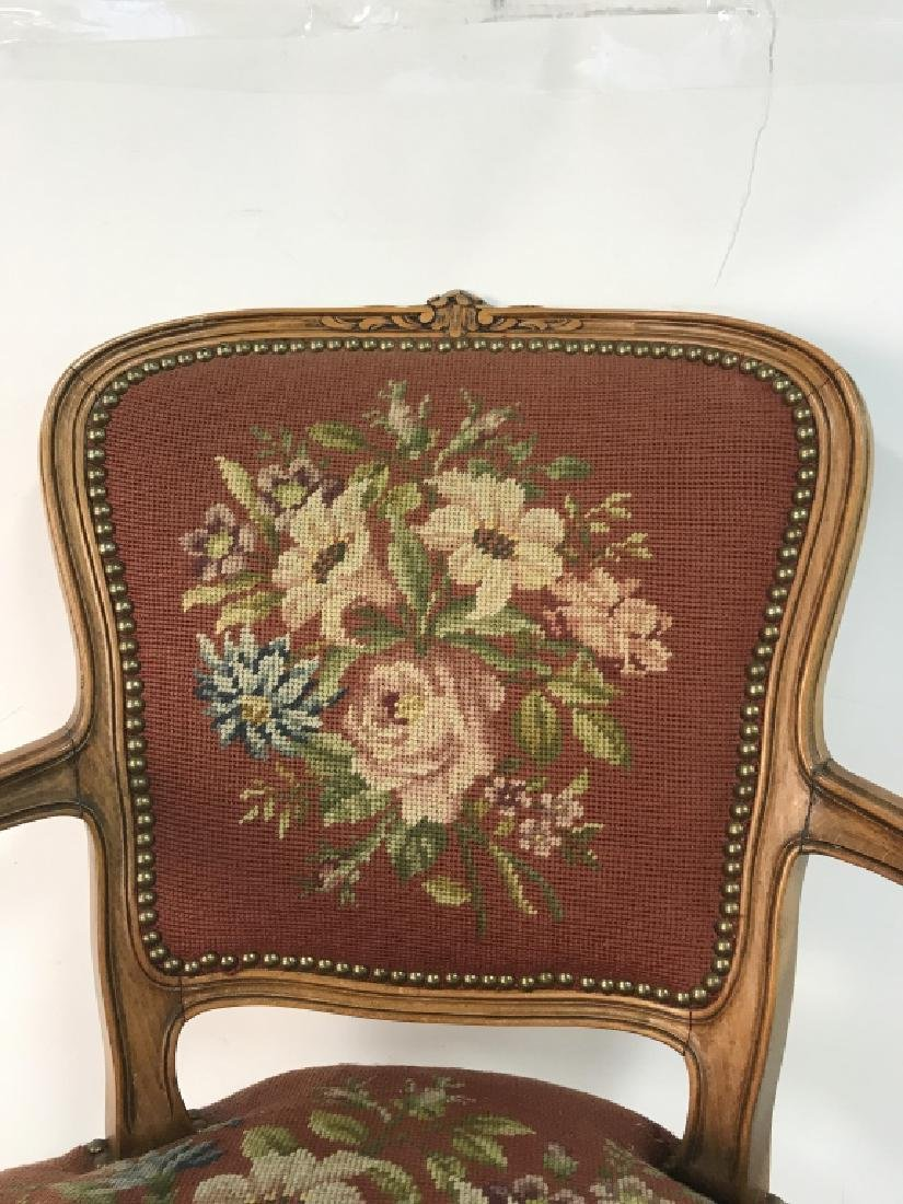 French Needlepoint Tapestry Fauteuil Armchair - 6
