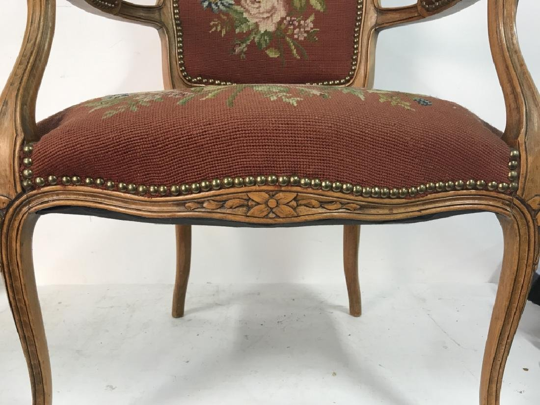 French Needlepoint Tapestry Fauteuil Armchair - 8