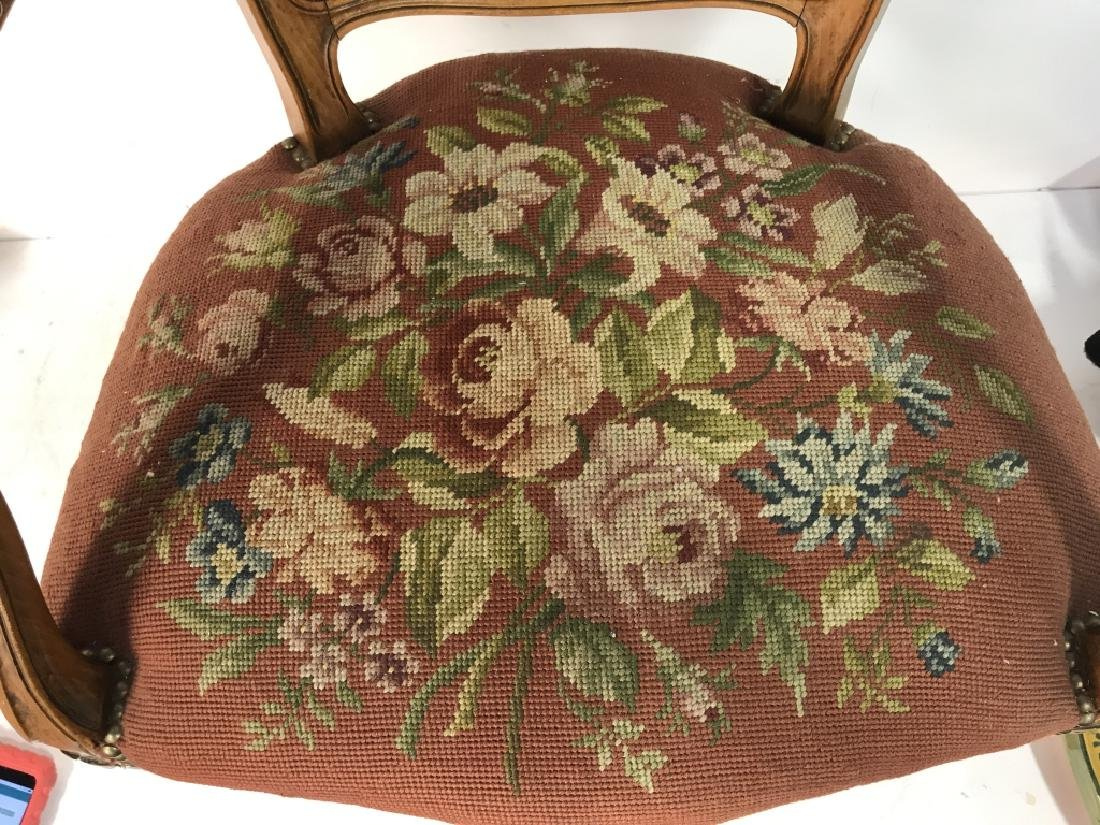 French Needlepoint Tapestry Fauteuil Armchair - 9