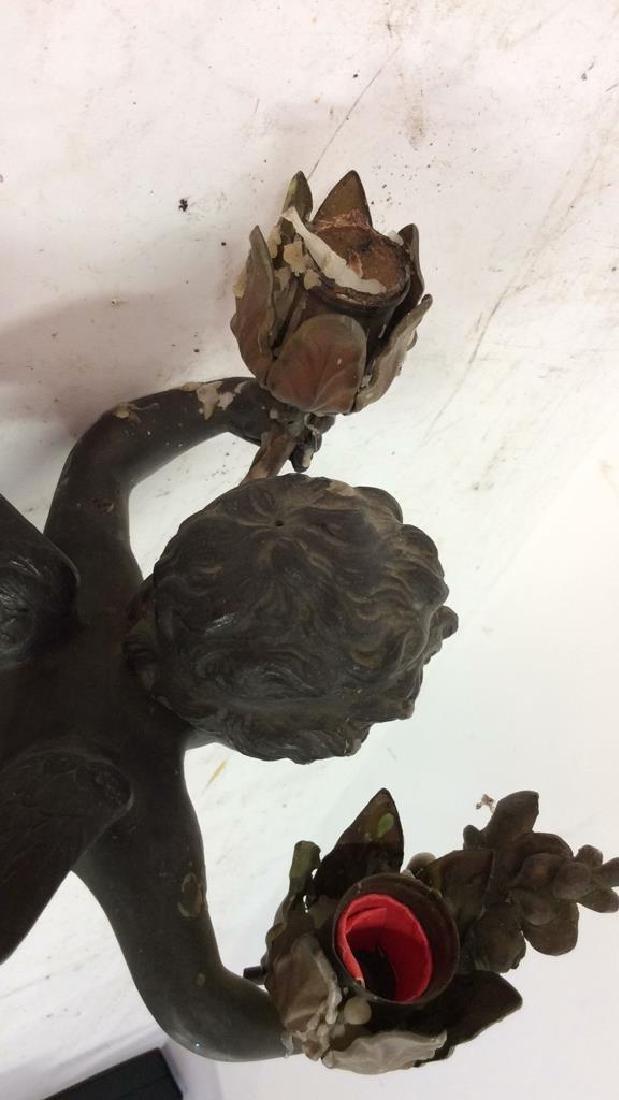 Vintage/Antique Pair Cupid Figural Candleholders - 10