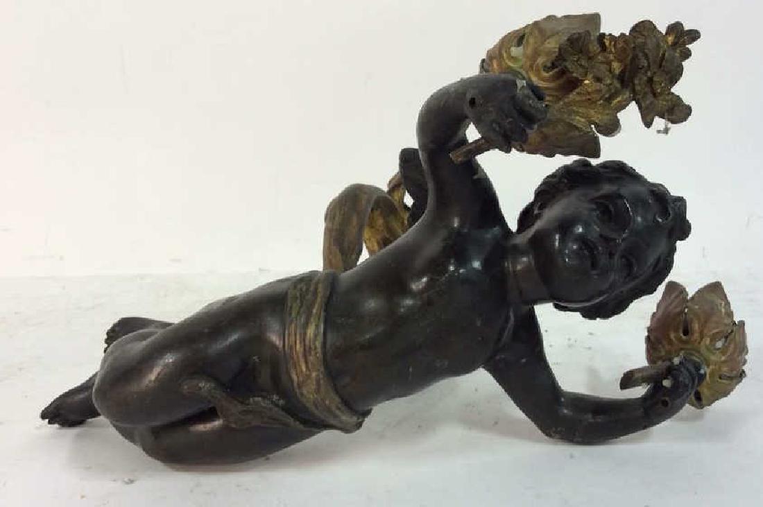 Vintage/Antique Pair Cupid Figural Candleholders - 2