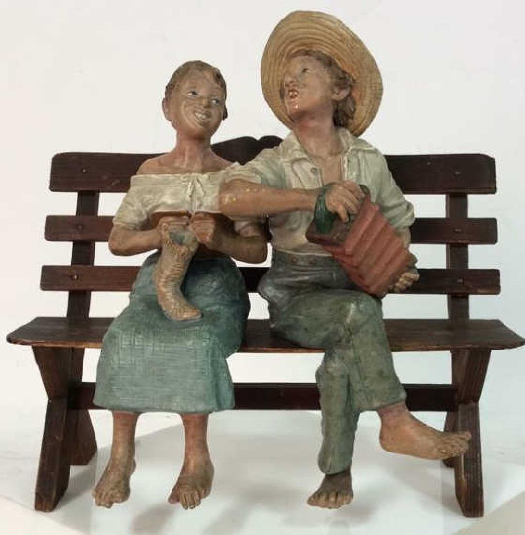 Set 3 Signed Folk Art FIgural Sculpture