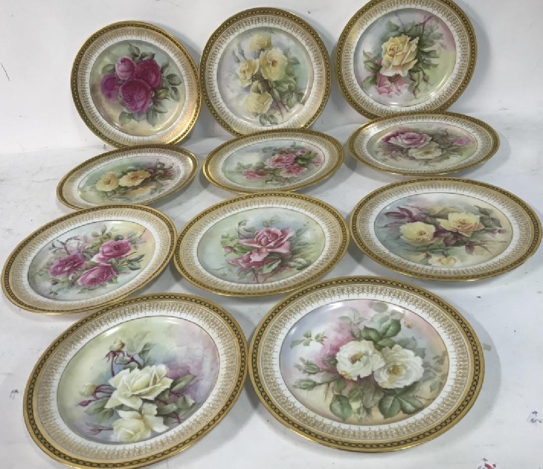 11 Antique Haviland France Painted Porcelain