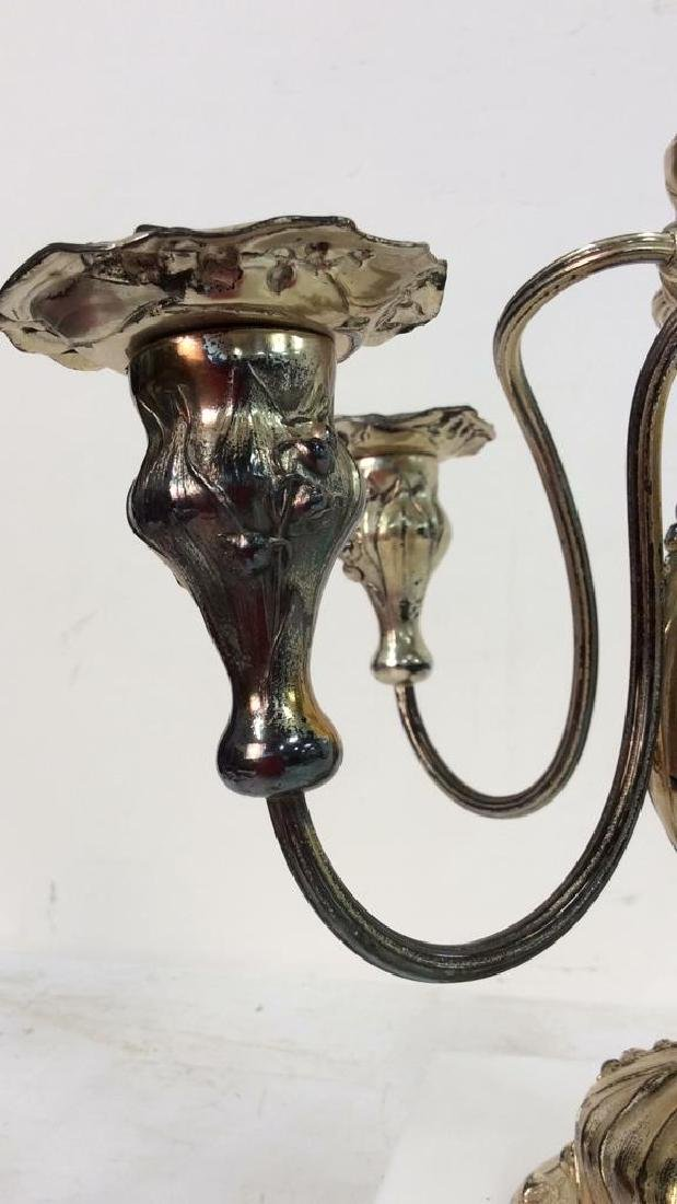 Signed Silver Plate Art Nouveau Metal Candelabras - 4