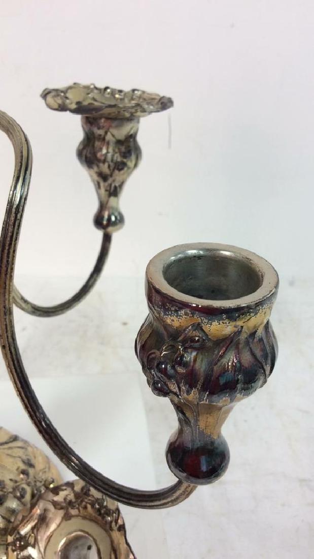 Signed Silver Plate Art Nouveau Metal Candelabras - 5