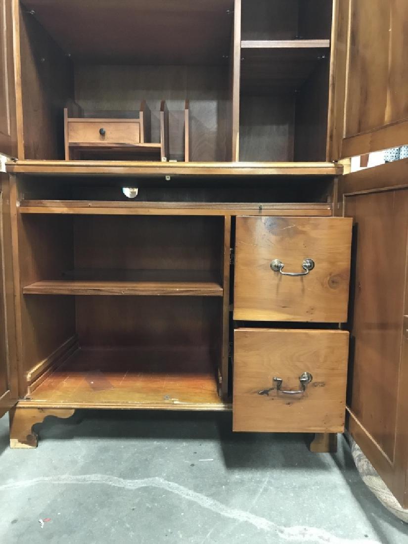 Inlaid Wood Secretary Desk With Hutch - 10