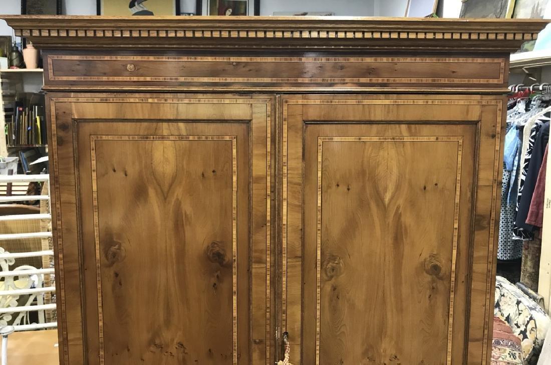 Inlaid Wood Secretary Desk With Hutch