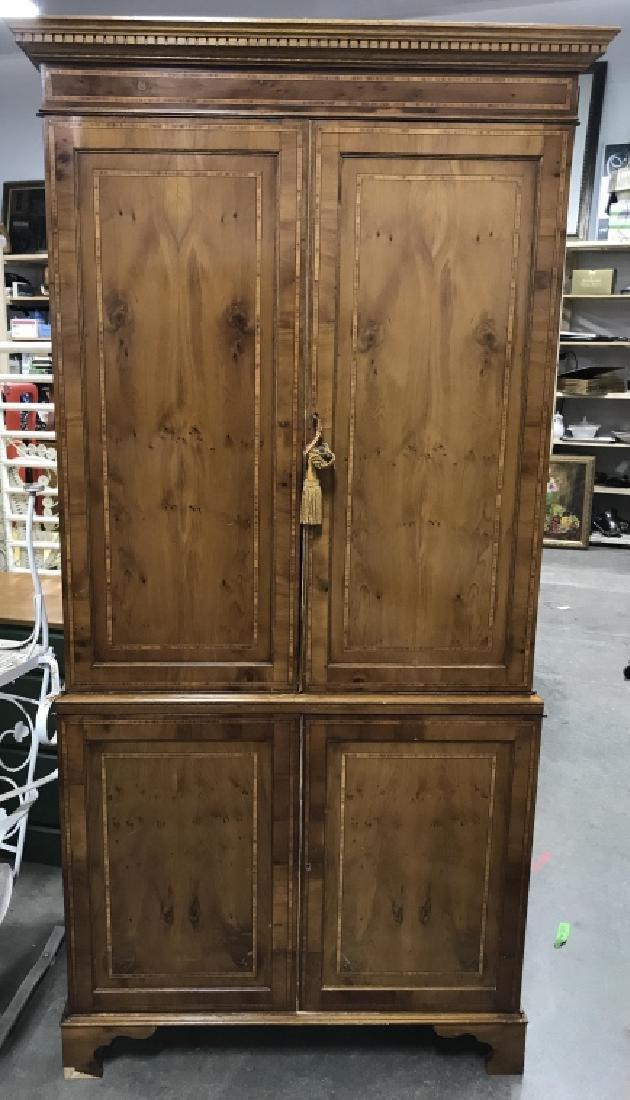 Inlaid Wood Secretary Desk With Hutch - 2