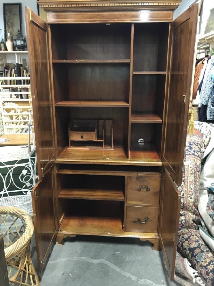 Inlaid Wood Secretary Desk With Hutch - 8
