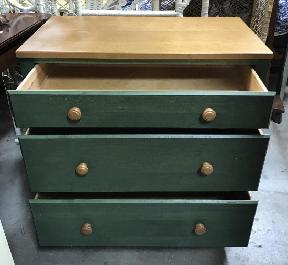 ETHAN ALLEN Green and LIght Wood  Dresser Chest