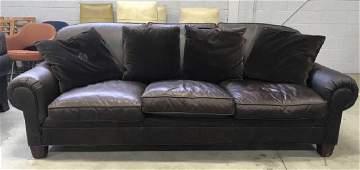 RALPH LAUREN Brown Leather Sofa  Pillows