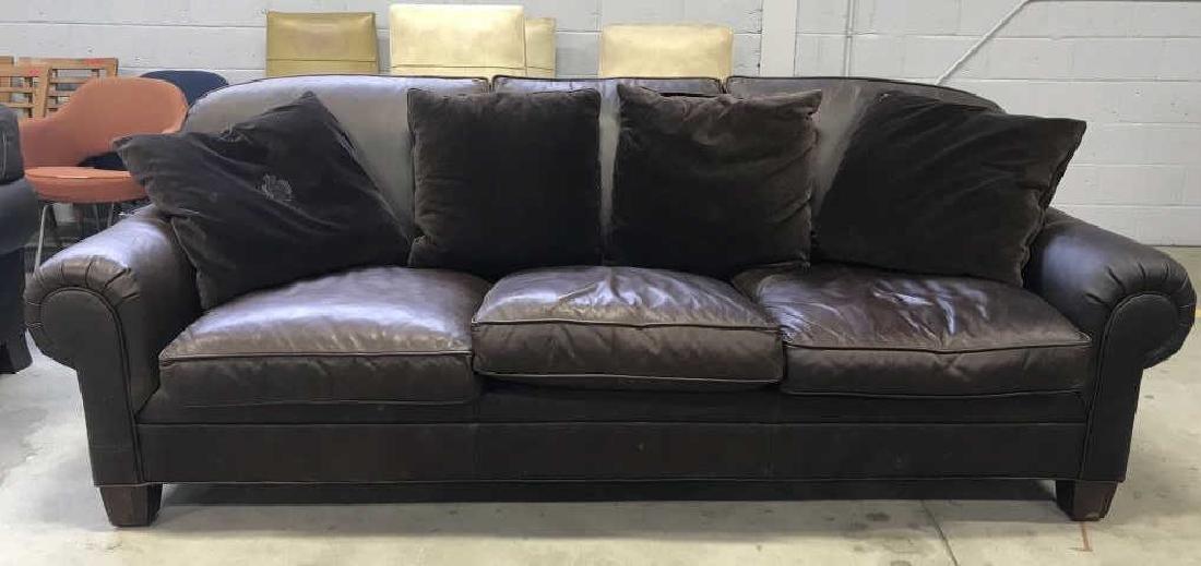 Lot 5 RALPH LAUREN Brown Leather Sofa & Pillows