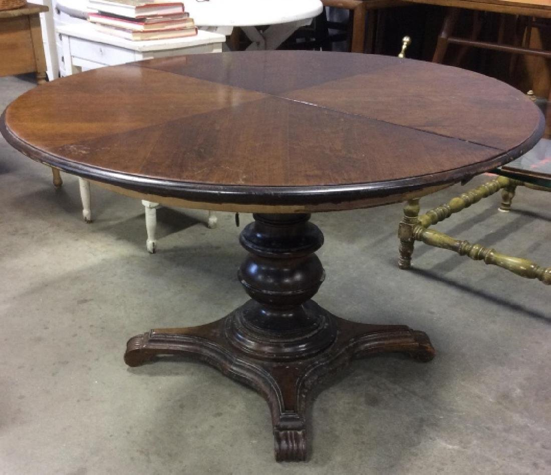 Antque Circular Wood Pedestal Dining Table