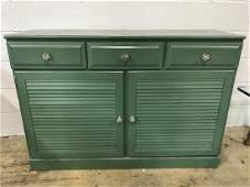 Vintage Green Toned Wooden Side Board