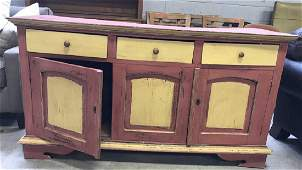 Vintage Red & Yellow Toned Wooden Sideboard