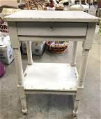 Vintage White Toned Wooden Nightstand