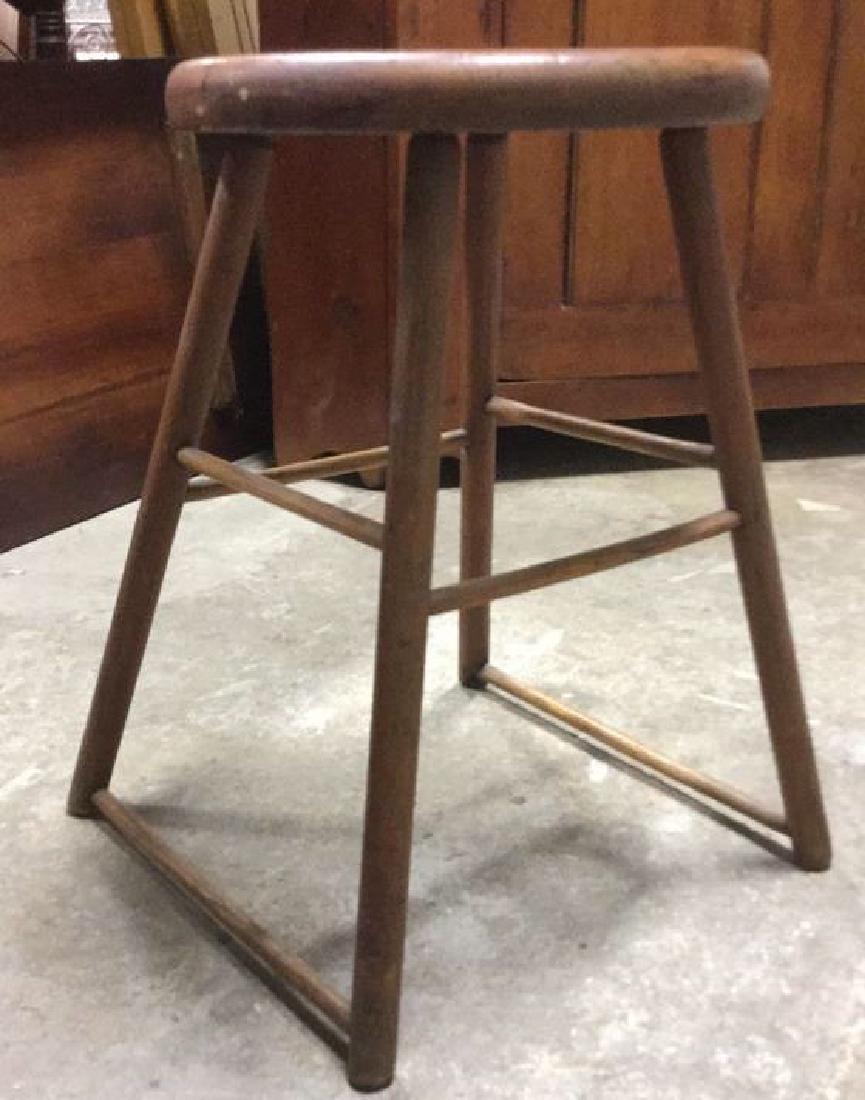 Brown Toned Vintage Wooden Stool - 2
