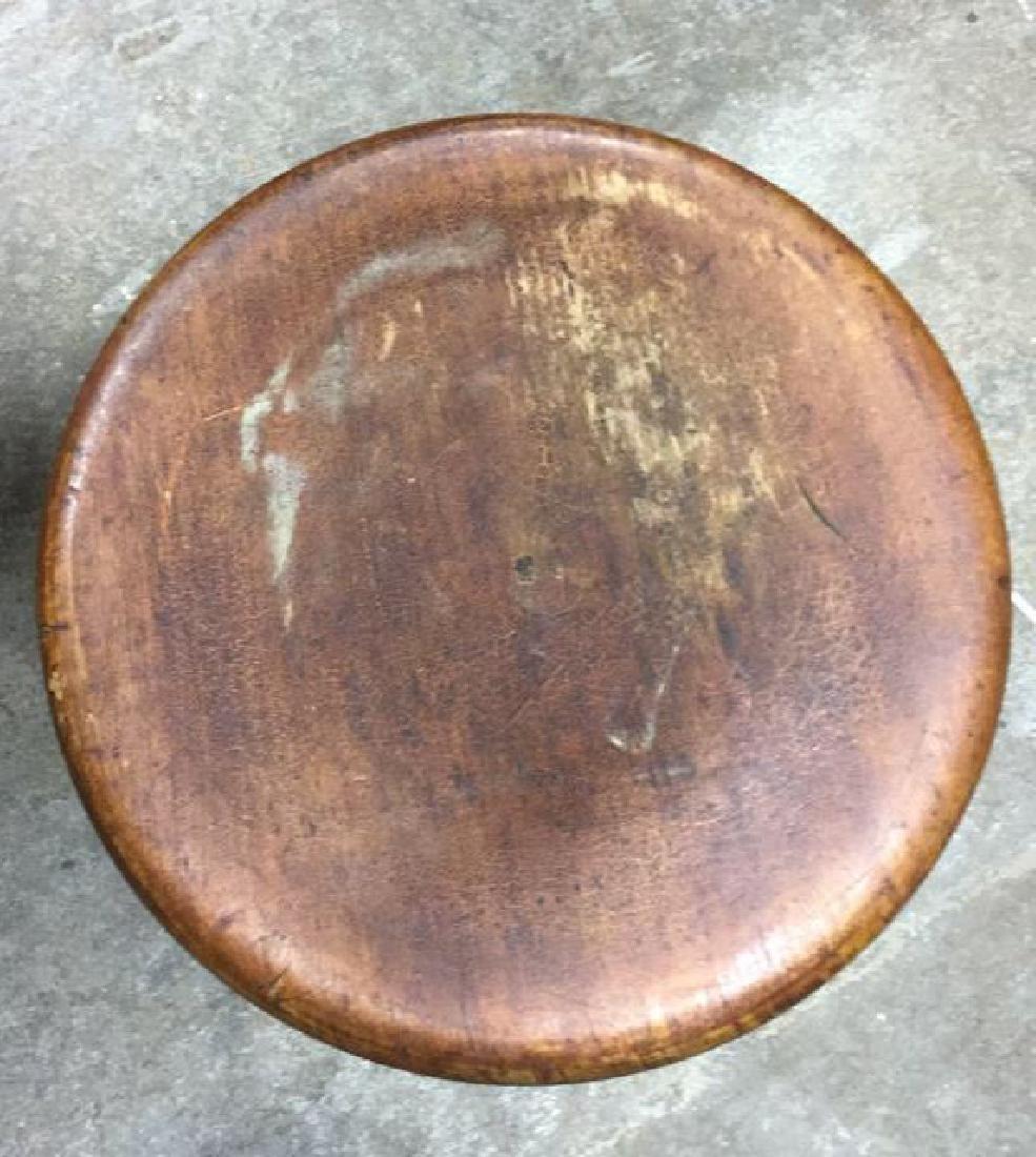 Brown Toned Vintage Wooden Stool - 3