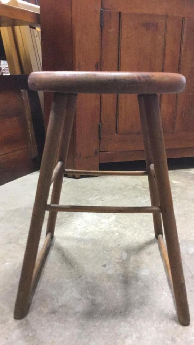 Brown Toned Vintage Wooden Stool - 5