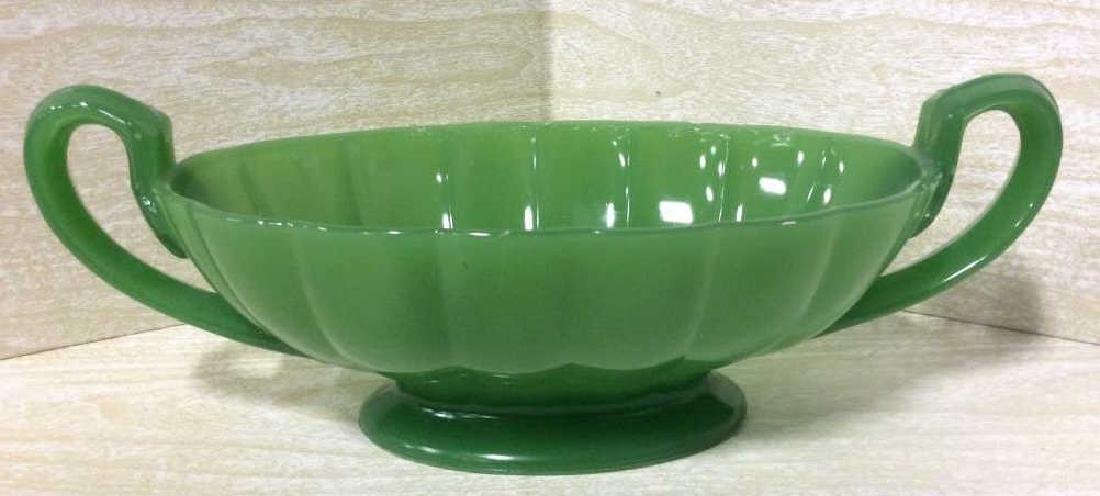Green Toned Art Glass Decorative Bowl