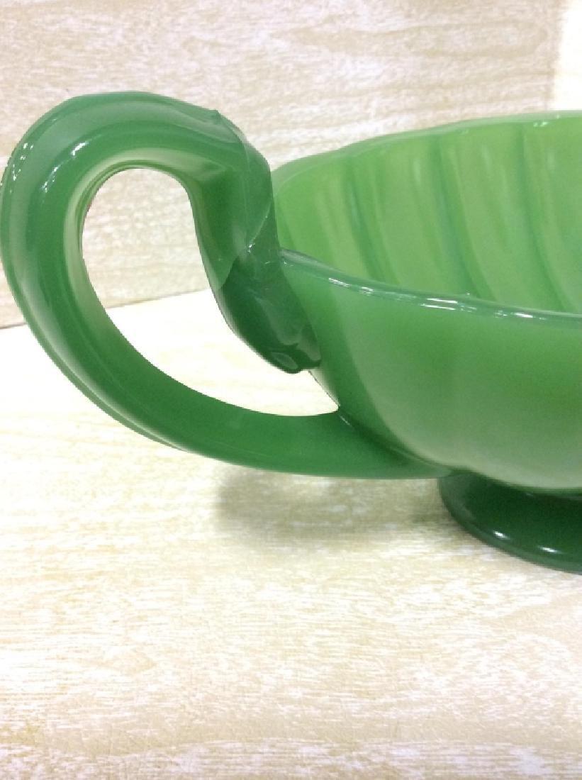 Green Toned Art Glass Decorative Bowl - 5