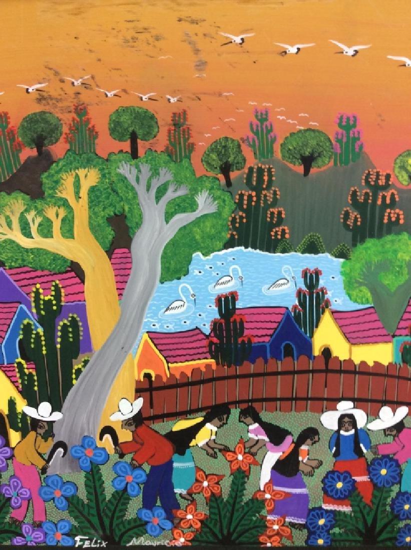 FELIX MAURICIO Mexican Folk Art Painting On Board