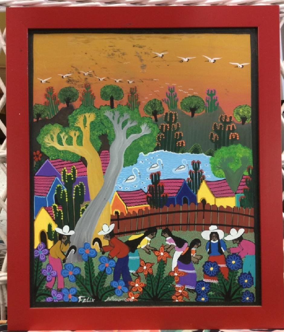 FELIX MAURICIO Mexican Folk Art Painting On Board - 2