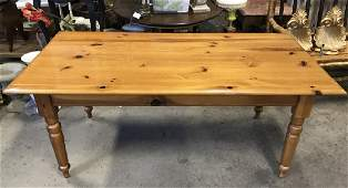 Vintage Wooden Pine Dining Table W Drawer